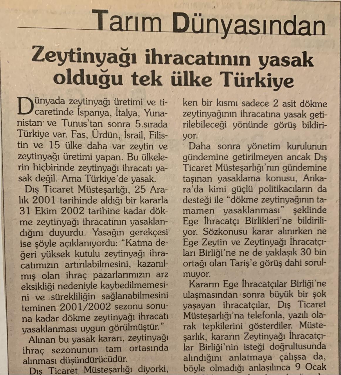 Zeytinyağı ihracatına 20 yıl sonra yasak geldi - Tarım Dünyasından - Ali  Ekber Yıldırım | GIDA, TARIM VE HAYVANCILIK PLATFORMU